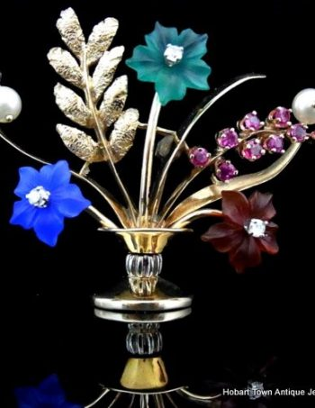 Exceptional Vintage Giardinetti Diamond Gold Pearl Gemstone 'Flower Pot' Brooch