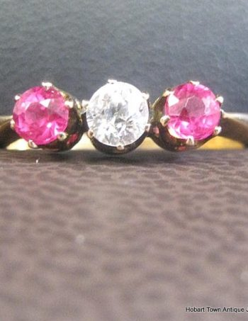 Fine Art Deco Ruby Diamond 18ct Gold Trilogy Ring .92tcw