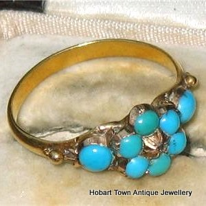 Rare Georgian Turquoise Diamond Intact Wedding Locket Ring