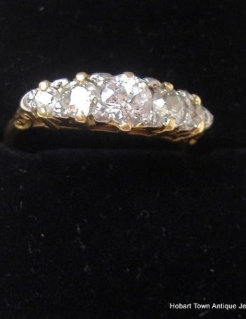 Stunning Edwardian Diamond 1.25ct 5 Stone 18ct Gold Ring