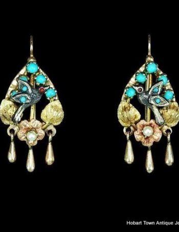 Stunning Victorian Antique Turquoise Pearl 12ct Gold Earrings
