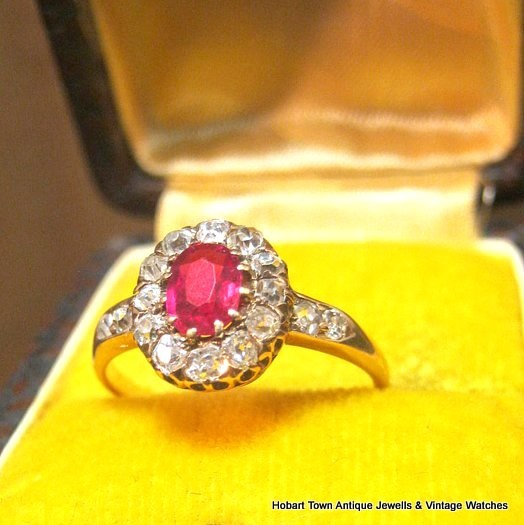 Antique ~ Victorian Ruby Diamond 1.50 tcw 18ct Gold Ring