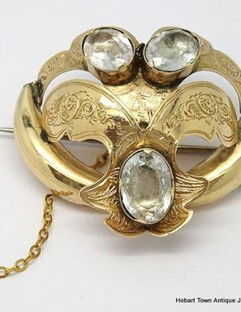 English Antique Rock Crystal 9ct Gold William IVth  Brooch  c1830