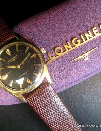 Vintage Longines Conquest c1957 Original Black Dial Box & Papers