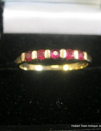 Vintage Ruby 14ct Gold 5 Stone Ring