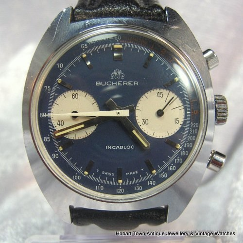 Bucherer Retro Chronograph 1970's Blue Dial Original Panda