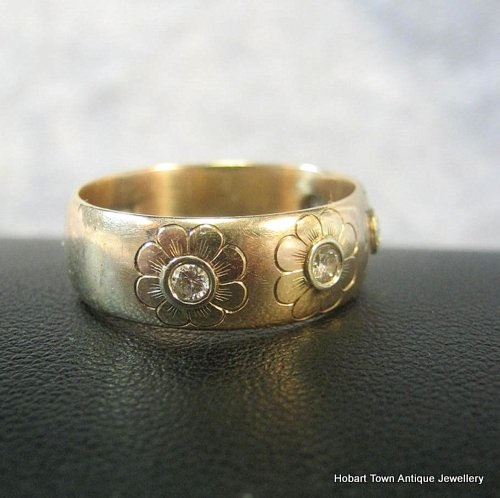 Antique Wedding Band Daisy Diamond Set Yellow ~ White Gold Ring