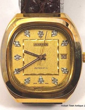 Vintage Juvenia Gents Diamond Date Dial Automatic Retro Watch