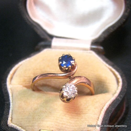 Antique Danish Diamond Sapphire 14kt Gold Moi Toi Ring