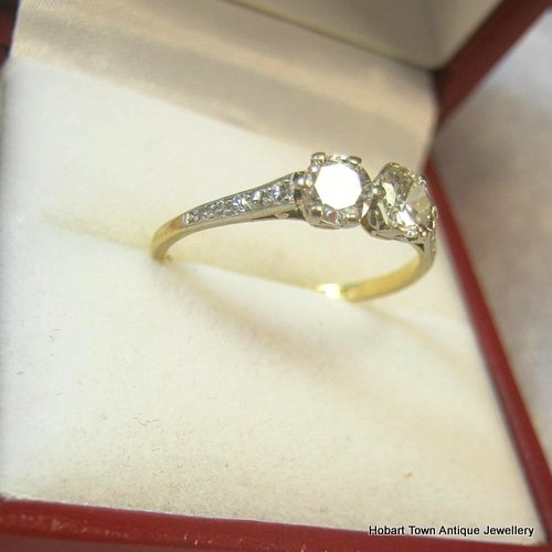 Art Deco Diamond Engagement Ring 18ct Yellow White Gold .77ct