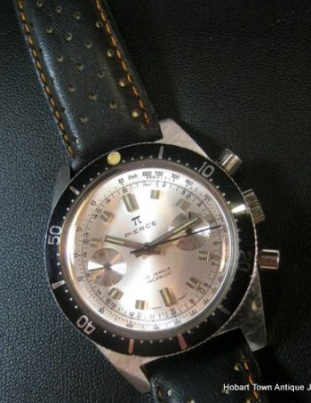 Elusive Pierce Vintage Divers Chronograph White Dial Black Bezel 1960's