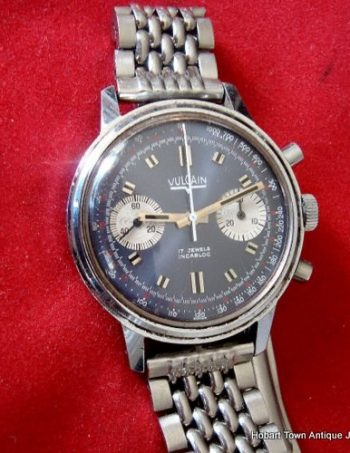 Handsome Vulcain Vintage Chronograph Blue Panda 1960's 37m Gents Watch