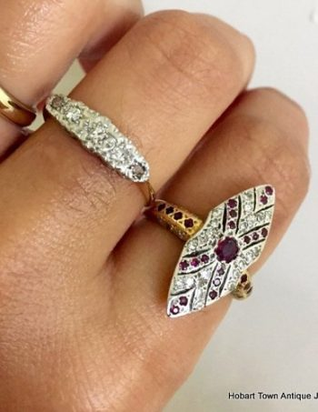 Stunning Art Deco Marquise Shape Ruby Diamond 18ct Gold Ring