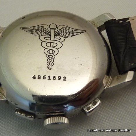 Extremely Rare Doxa Doctors Chronograph Caduceus ~ Aesculapius Backed 1948 Watch