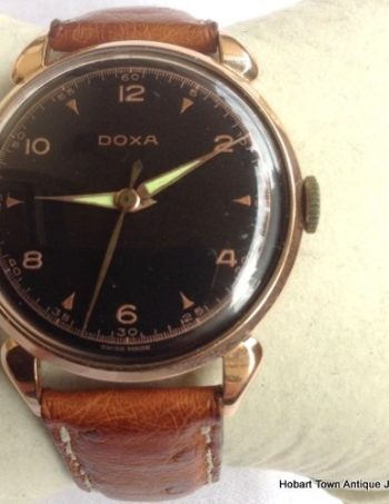 Stunning Doxa Oversize 14ct Rose Gold Black Dial c1950 Watch