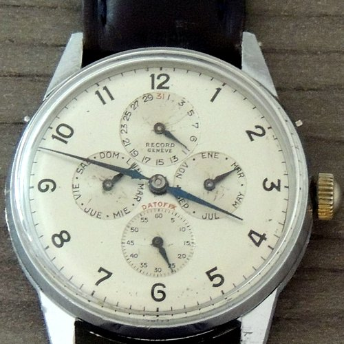 Extremely Rare RECORD Datofix 5 Dial Triple Date 50's Watch