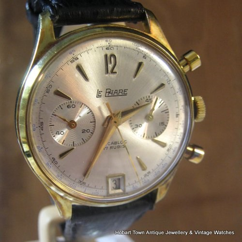 Handsome Vintage Le Phare Date Chronograph Landeron Cal;189 45 Minute 37m