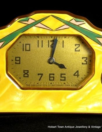 Retro Art Deco Catalin Bakelite 3pce Clock Photo Frame Set