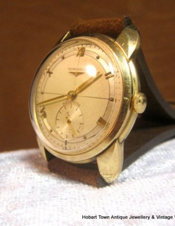 Fine Vintage Longines Automatic Solid 14ct Segmented Roman Numeral Dial