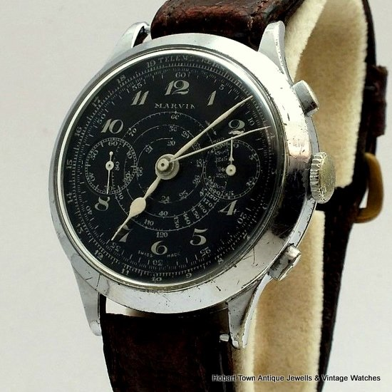 Exceptional Vintage MARVIN Over Size Military Chronograph All Original c1939