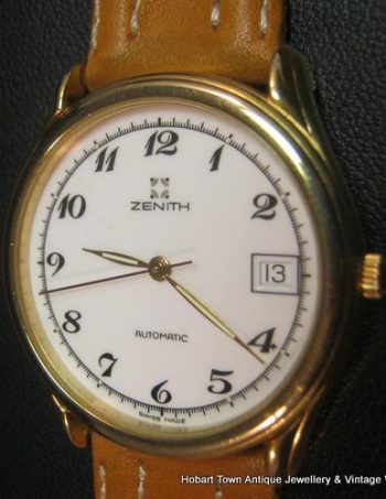 Fine Vintage Zenith Automatic 21 Jewel Date Porcelain Dial Stunner
