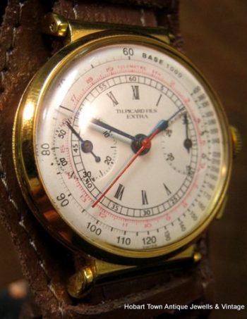 Superb Juvenia Th;Picard Vintage Chronograph Swing Lug 37m c1938 Watch