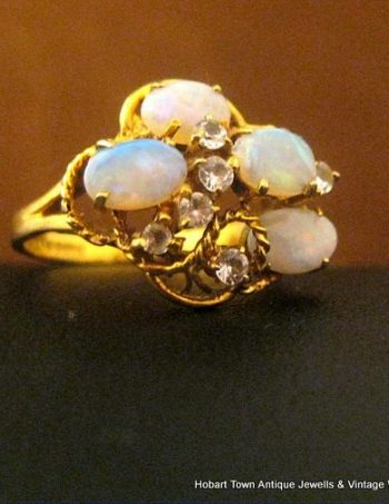 Vintage Retro Australian Opal Diamond 9ct Gold Ring