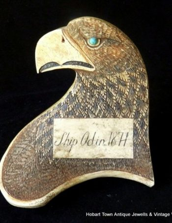 Handmade 19thC Schrimshaw Eagle's Head Danish Navy Ship ODIN 1871