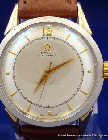 Stunning Rare Omega Ref'2957 -3 St'Steel Gold Cal'351 Bumper Auto Watch