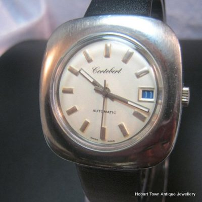 Rare Cortebert Vintage Large Stainless Steel Gents Retro Date Watch