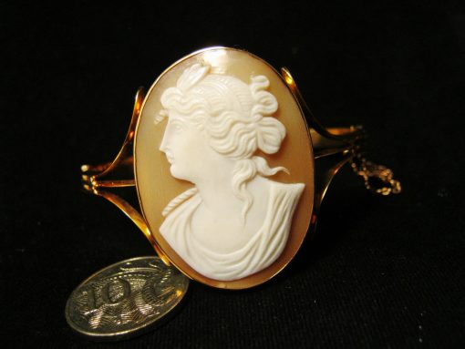 Rare Australian Antique Cameo Gold Bangle
