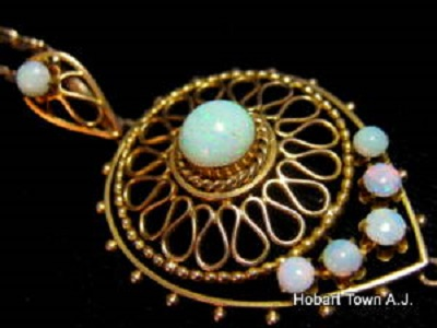 Victorian 14ct gold australian opal pendant hobart town antique victorian 14ct gold australian opal pendant aloadofball Image collections