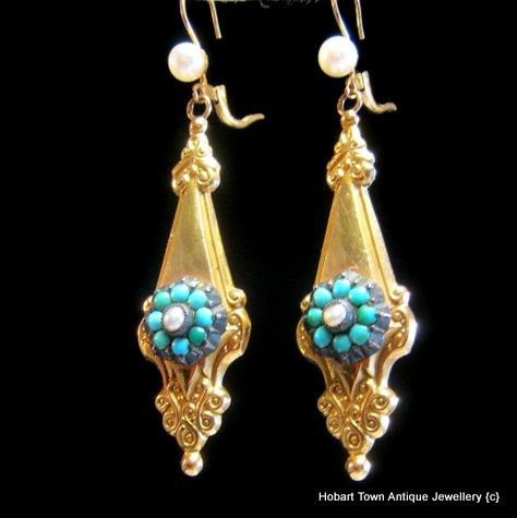 2e06c4d3c4874 Fine Victorian 14ct Gold Turquoise Pearl Etruscan Revival Earrings