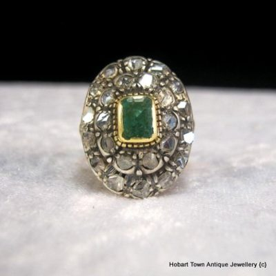 Stunning Antique 1.25ct Colombian Emerald Diamond 18ct Gold Ring c1820 s