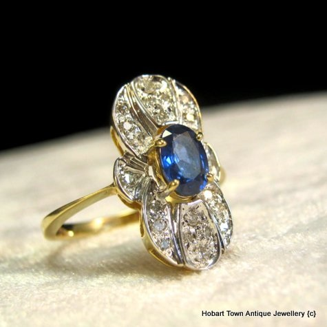 Superb Art Deco Sapphire & Diamond 14ct Gold Ring c1930's