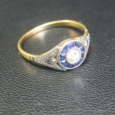 Authentic Art Deco Diamond Sapphire Target Ring c1920