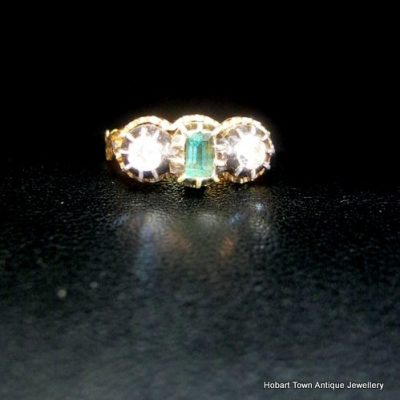 Authentic Georgian Handmade Emerald Diamond Trilogy Ring c1780