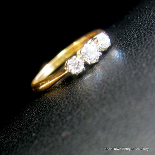 Victorian Diamond Trilogy Antique Engagement Ring 22ct Gold Uk C1868