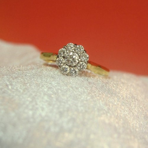 Antique ~ Vintage Diamond Daisy Ring ~ Vintage Diamond Halo Engagement Ring