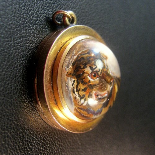 Extremely Rare Antique Reverse Intaglio Essex Crystal 10ct Double Locket