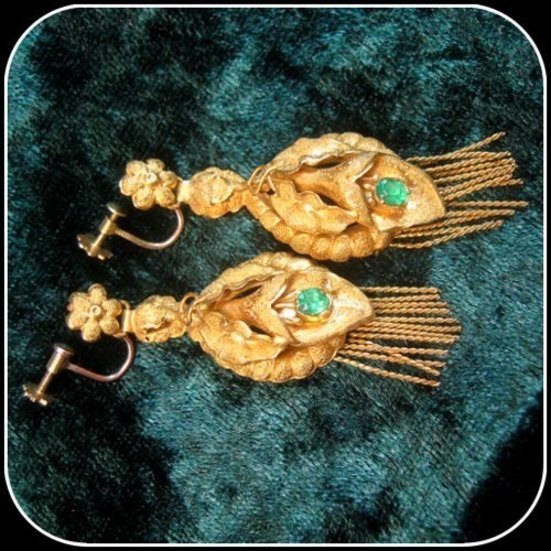 Genuinely Rare Georgian Emerald 22ct Gold Antique Tassel End Earrings