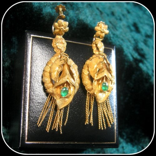 Genuinely Rare Georgian Emerald 22ct Gold Antique Tassle End Earrings