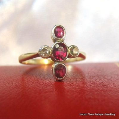 Victorian Ruby Diamond 18ct Gold Cruciform Antique Ring