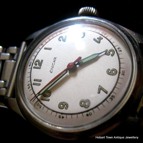WW2 Enicar Military Dial Men's Winder Watch Absolute Vintage Perfection