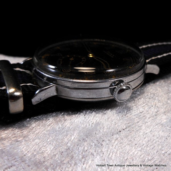WW2 DOXA Over Size Anti Magnetic Black Dial 36m Watch