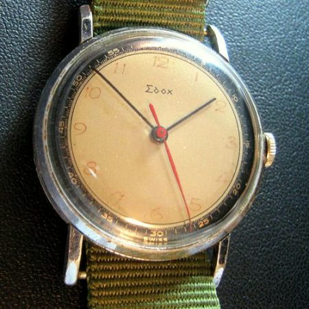 Super Rare Vintage EDOX 1940's Two Tone Dial 35m Watch