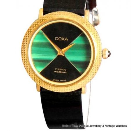 Very Rare Vintage DOXA Ebony Malachite Uni Sex Watch