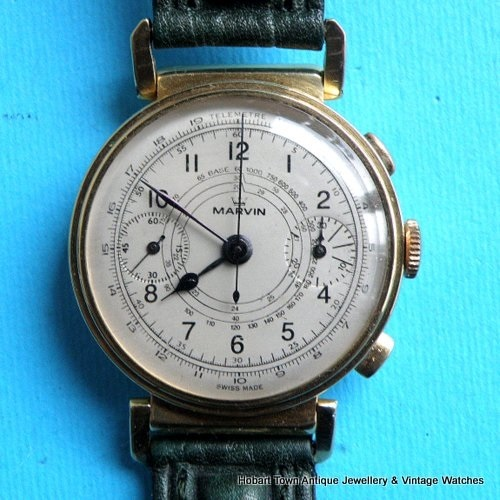 Superb Rare Vintage MARVIN 1930's 18ct Gold Swing Lugs Chronograph