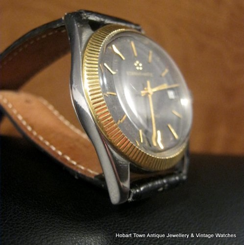 Fine Eternamatic Kon Tiki Solid Gold Knuled Bezel Black Dial