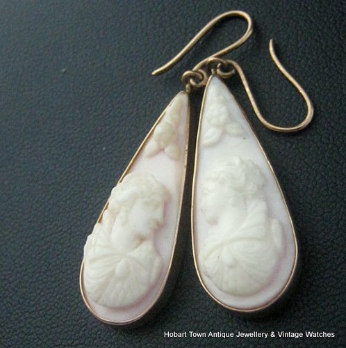 Rare Pr Quality Antique Tear Drop 15ct Gold Cameo Earrings